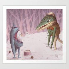 Drummer Bird Meets Croc Art Print