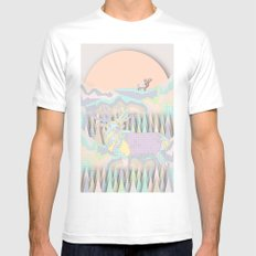 Deer Forest MEDIUM White Mens Fitted Tee