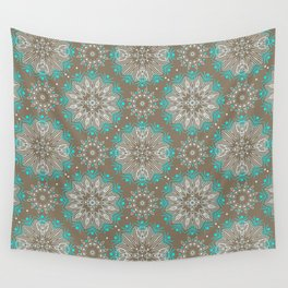 Brown turquoise bling . Wall Tapestry