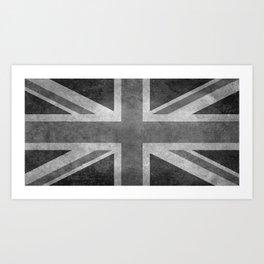 British Union Jack flag in grungy tex Art Print