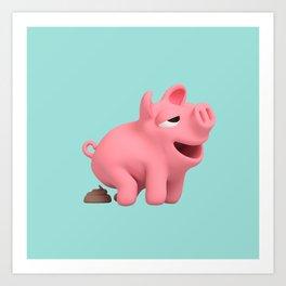 Rosa the Pig takes a poop Art Print