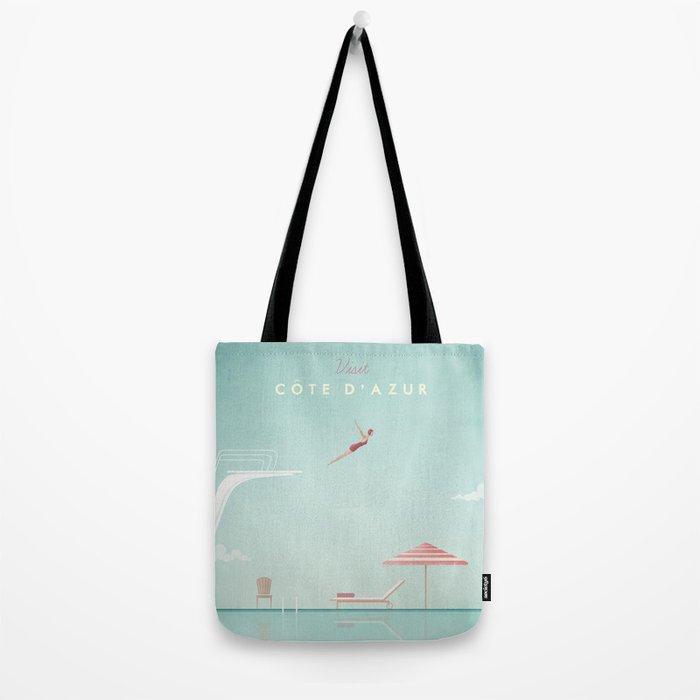 Vintage Côte d'Azur Travel Poster Tote Bag