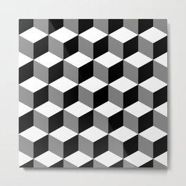 Cube Pattern Black White Grey Metal Print