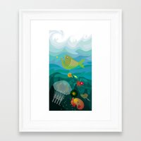 mermaids Framed Art Prints featuring Mermaids by Caroline Krzykowiak