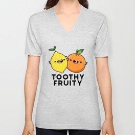 Toothy Fruity Cute Fruit Pun Unisex V-Neck