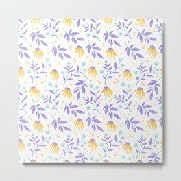yellow flowers purple leaves Metal Print