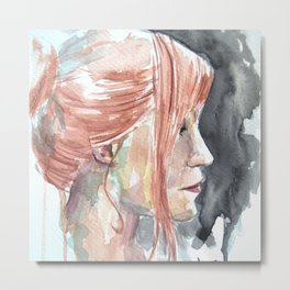 Redhead watercolor Metal Print