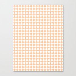 White and Deep Peach Orange Diamonds Canvas Print