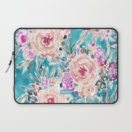 WAHINE WAYS Aqua Tropical Floral Laptop Sleeve