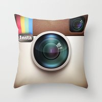 instagram Throw Pillows featuring Instagram by Max Jones