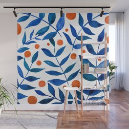 Watercolor berries and branches - blue and orange Wall Mural