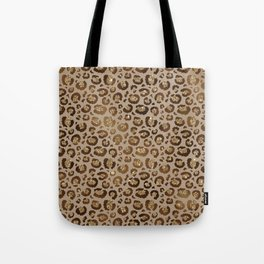 Brown Glitter Leopard Print Pattern Tote Bag
