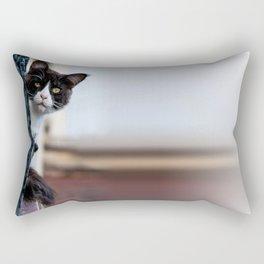 Curious Black and White Cat Rectangular Pillow