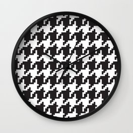 Houndstooth - Black & White Wall Clock