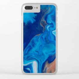 Fluid Nature - Blue Smoke - ABstract Acylic Pour Art Clear iPhone Case