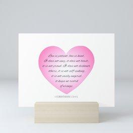 Inspirational Love Bible Verse Valentine's Day Calligraphy Mini Art Print