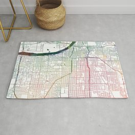 Tulsa Map Watercolor by Zouzounio Art Rug