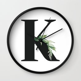 Letter K Initial Floral Monogram Black And White Poster Wall Clock