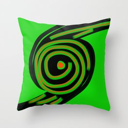 Spin Out Sixty Nine green black orange  six nine disc turntable vinyl 69 Angelis Throw Pillow