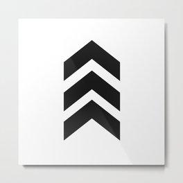 Black & White Three Bold Chevrons Arrow Minimalist Metal Print