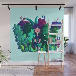 Floral Jungle Frida Kahlo Colorful Illustratration Wall Mural
