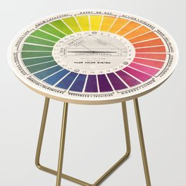 Vintage Color Wheel - Art Teaching Tool - Rainbow Mood Chart Pride Side Table