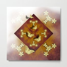 Gold butterflies and flowers on copper mandala Metal Print
