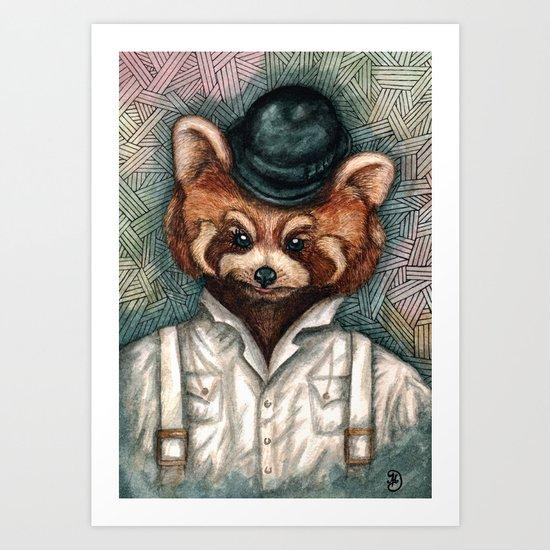 Cute Red Panda in Bowler hat Art Print