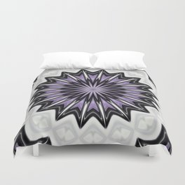 Ultra Violet Silver and Lilac Abstract Kaleidoscope Pattern Duvet Cover