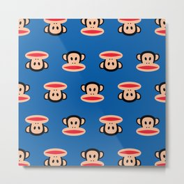Julius Monkey Pattern by Paul Frank - Dark Blue Metal Print