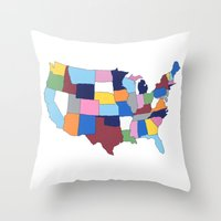 usa Throw Pillows featuring USA by Project M