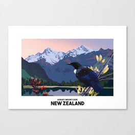 RETRO NEW ZEALAND POSTER Canvas Print