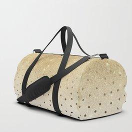 Black white polka dots gold glitter ombre Duffle Bag