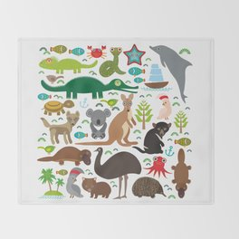 Animals Australia: Echidna Platypus ostrich Emu Tasmanian devil Cockatoo parrot Wombat snake turtle Throw Blanket