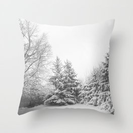Winter Photography - Snowy Trees And Ground Throw Pillow