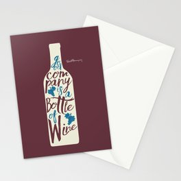 Hemingway quote on Wine and Good Company, fun inspiration & motivation, handwritten typography Stationery Cards