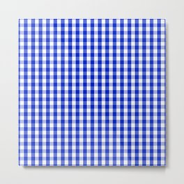 Cobalt Blue and White Gingham Check Plaid Squared Pattern Metal Print