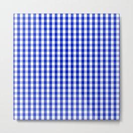 Cobalt Blue and White Gingham Check Plaid Squared Pattern Metal Print