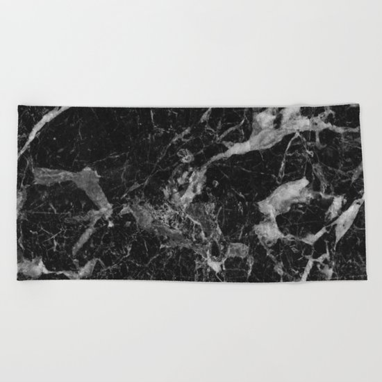 Black and Gray Marble Pattern Beach Towel