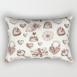 Valentine day pattern with hearts and gift boxes Rectangular Pillow