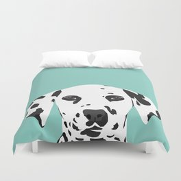 Dalmatian cute puppy dog black and white mint pastel gender neutral pet owner gifts love animals Duvet Cover