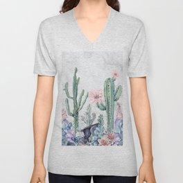 Desert Cactus Succulents + Gemstones on Marble Unisex V-Neck