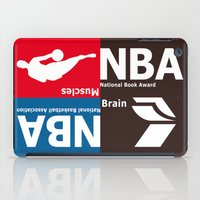 nba iPad Cases featuring NBA. Muscles or Brain ? by Vintage Deco Print Posters