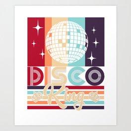 Disco King 1970s Vintage 70s Dance Party Gift Art Print