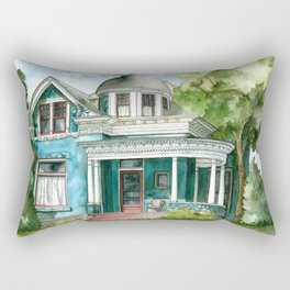 The House with Red Trim Rectangular Pillow