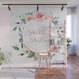 Watercolor Flowers Shabbat Shalom Jewish Art Wall Mural