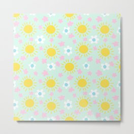 Sunny Flowers - Yellow and Green, Floral, Sun Pattern Metal Print