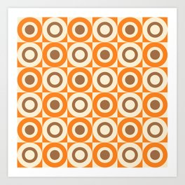 Mid Century Square and Circle Pattern 541 Orange and Brown Art Print