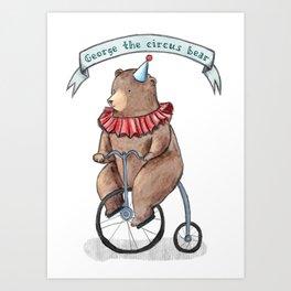 George the circus bear Art Print
