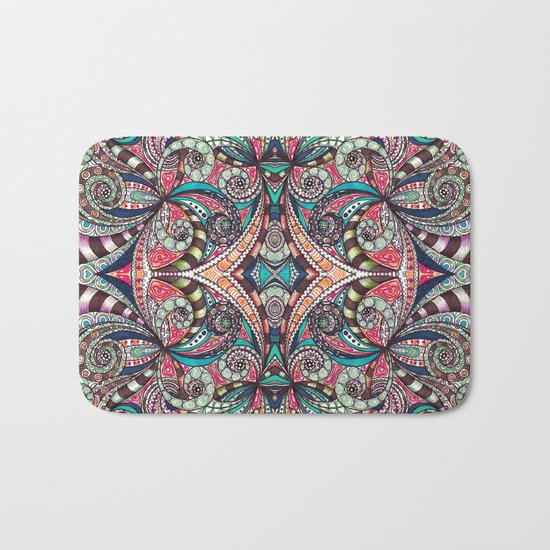 Drawing Floral Zentangle G237 Bath Mat